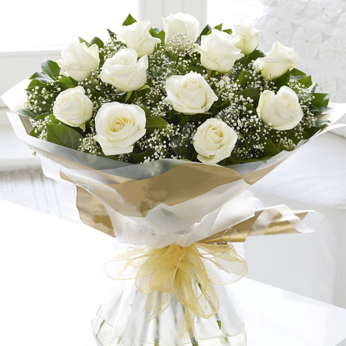SAME DAY DELIVERY: 12 WHITE ROSES + VASE!