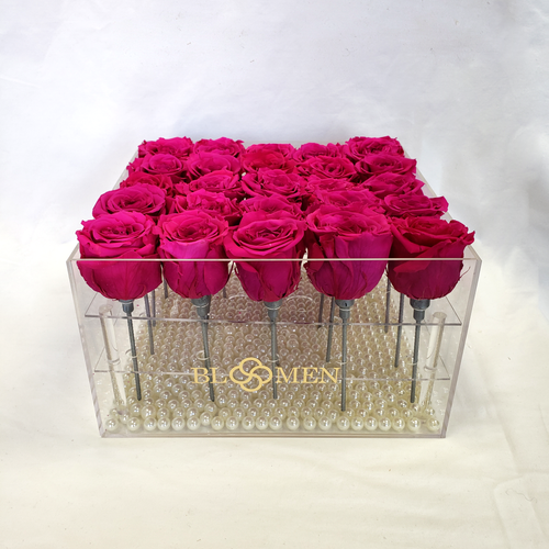 25 HOT PINK EVERLASTING ROSES