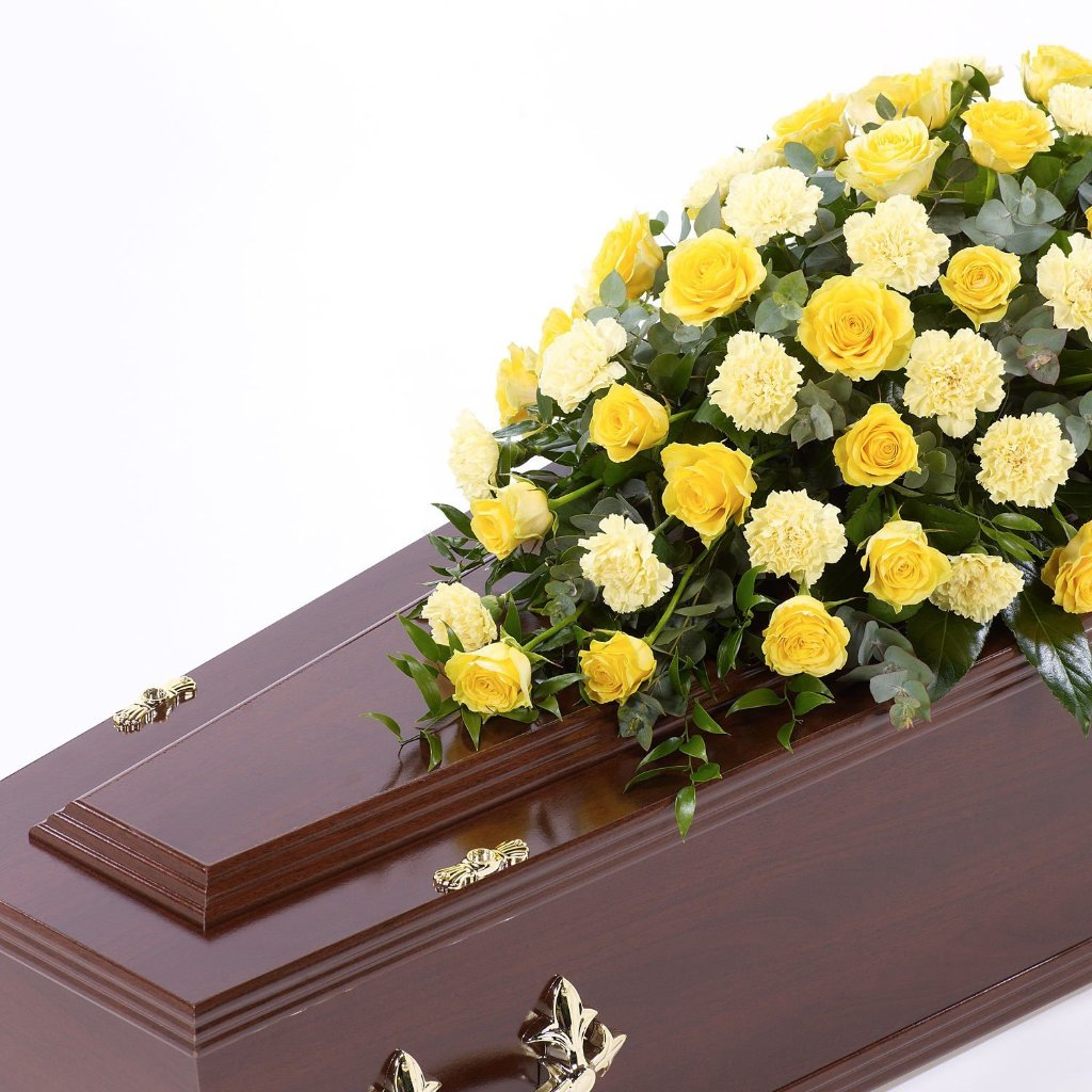 Casket Spray: Roses & Carnations (Yellow)