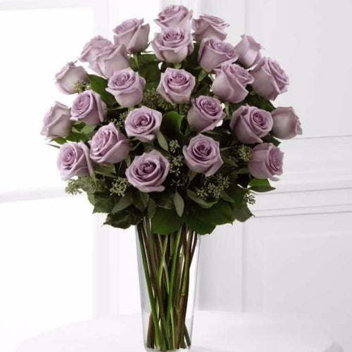 SAME DAY DELIVERY: 24 LAVENDER ROSES + VASE!