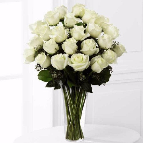 Nothing speaks of love so much as a bouquet of beautiful 24 long stem white roses. This bouquet is a gift to her heart from yours. Toronto Online Flower Delivery Service for Luxury Roses providing free delivery in the greater Toronto area for Birthdays, Anniversary, New baby, Weddings, Mother's Day and Valentines day