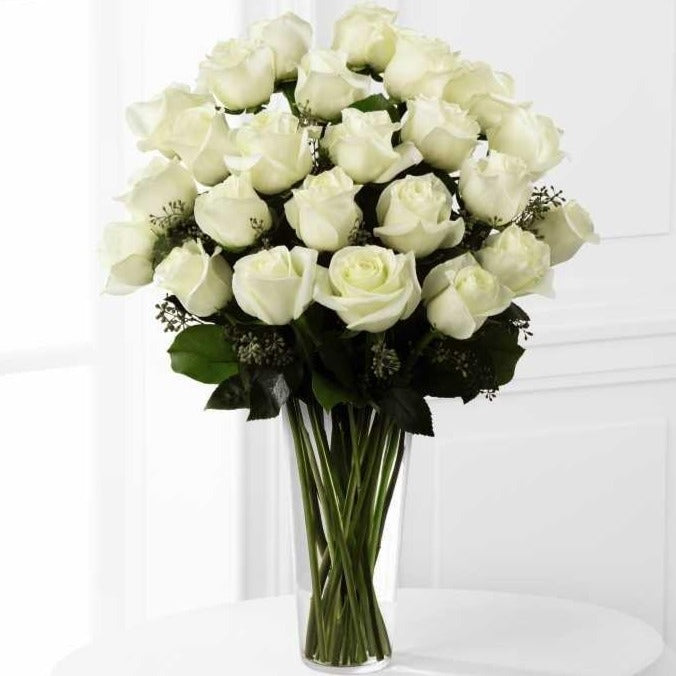 SAME DAY DELIVERY: 24 WHITE ROSES + VASE!