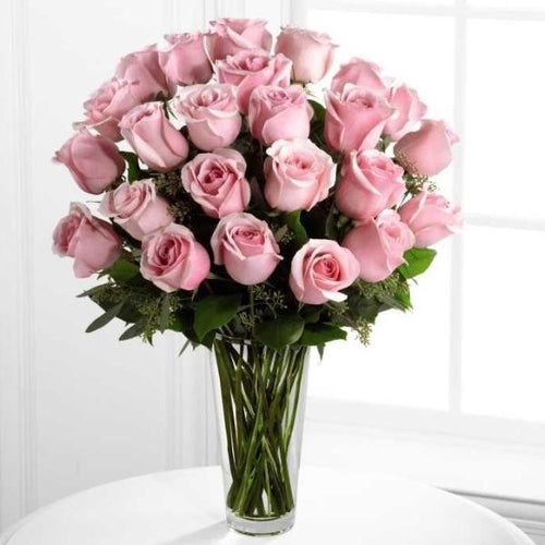 24 PINK ROSES - YOURS TRULY + WITH VASE
