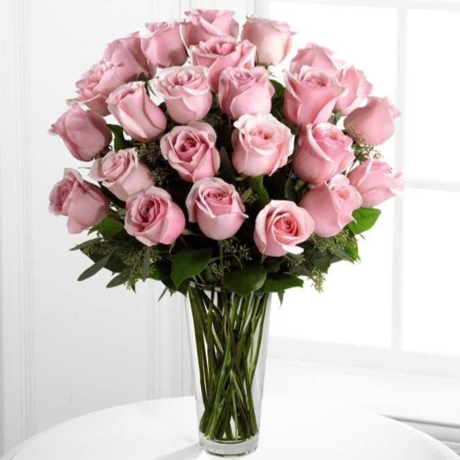 SAME DAY DELIVERY: 24 PINK ROSES WITH FREE VASE!