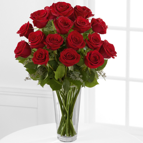 SAME DAY DELIVERY: 24 LONG STEM RED ROSES WITH FREE VASE!