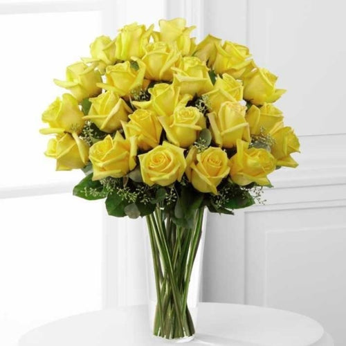 SAME DAY DELIVERY: 24 YELLOW ROSES + VASE!