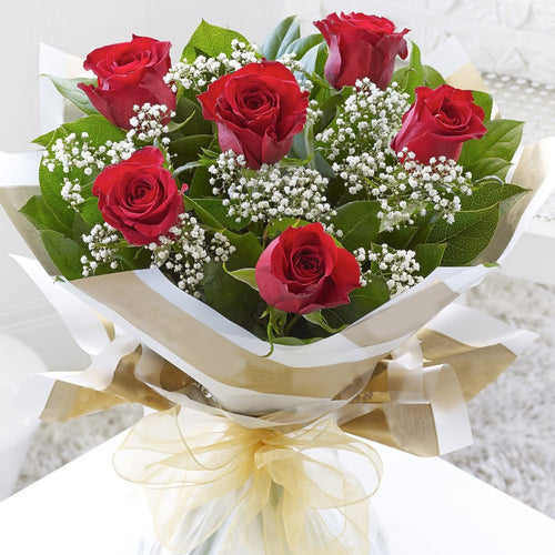 VALENTINE'S SPECIAL: 6 RED ROSES + FREE VASE