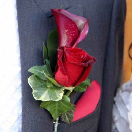 Calla and Rose Boutonniere