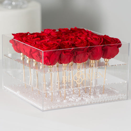 25 RED EVERLASTING ROSES