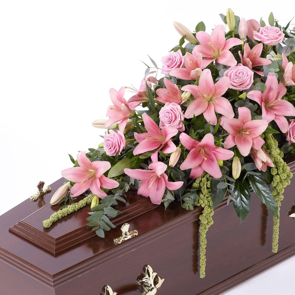 Casket Spray: Lilies & Roses (Pink)