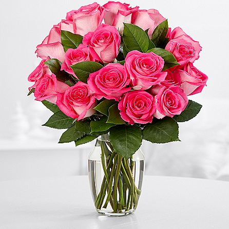 SAME DAY DELIVERY: 24 HOT PINK ROSES + VASE!