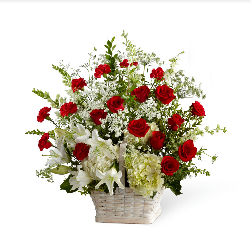 Basket Arrangement (White & Red)