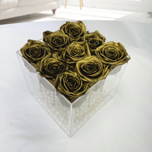 9 GOLD EVERLASTING ROSES