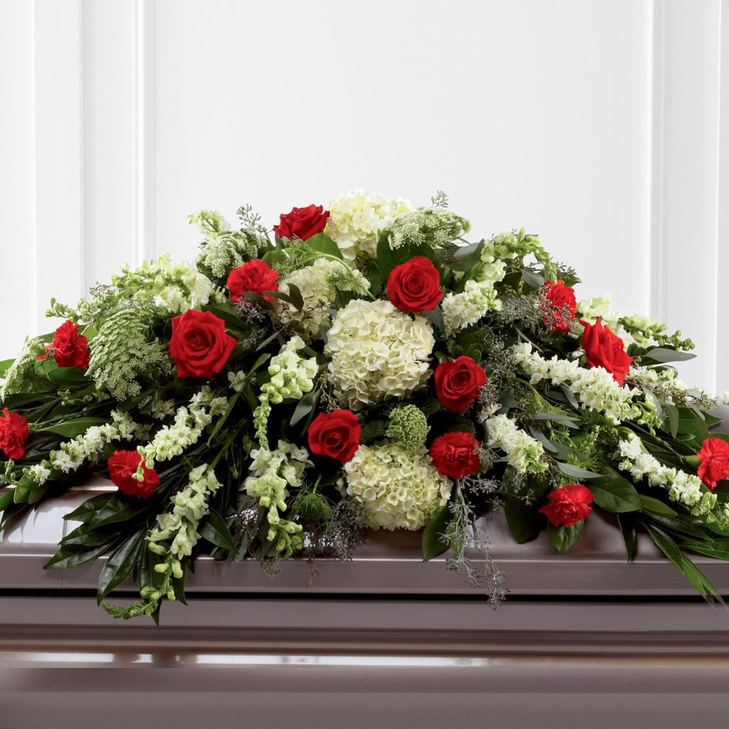 Casket Spray: Roses & Hydrangeas (Red & Green)