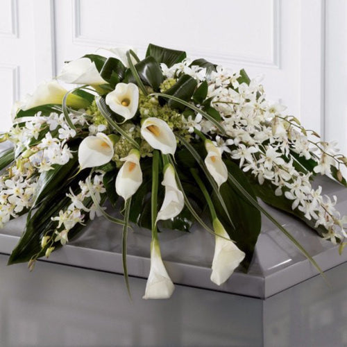 Casket Spray: Calla Lilies & Orchids (White)
