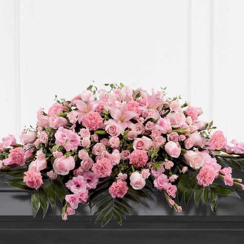 Casket Spray: Roses & Carnations (Pink & Green)