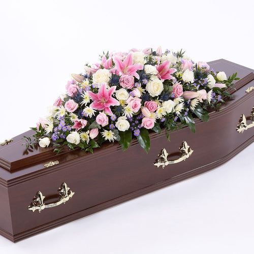Casket Spray: Lilies & Roses (White & Pink)