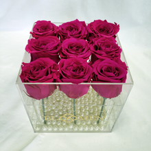 9 HOT PINK EVERLASTING ROSES