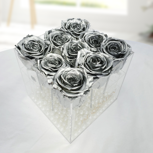 9 SILVER EVERLASTING ROSES