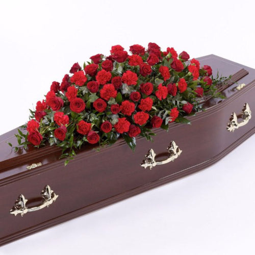 Casket Spray: Roses & Carnations (Red)
