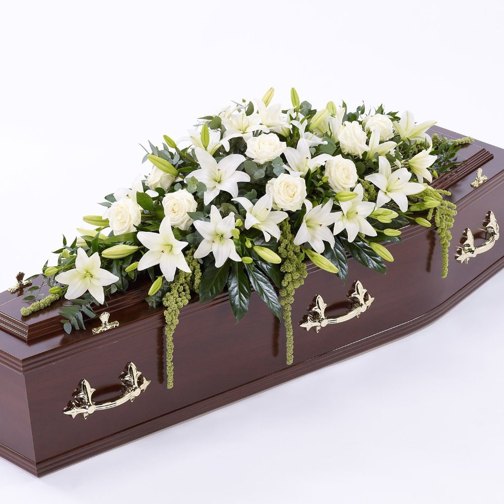 Casket Spray: Lilies & Roses (White)