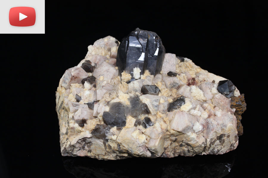 Smoky quartz, hematite, and Microcline