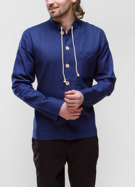 Embroidery Men's Shirt blue