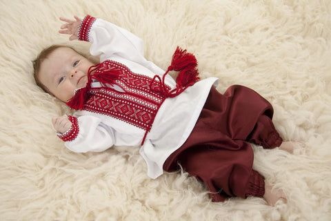 Homespun cloth baby set with red embroidery for girl