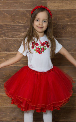 T-shirt for girl with red embroidery