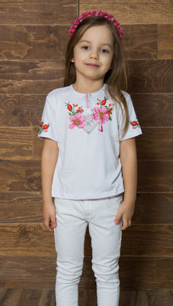 T-shirt for girl with pink embroidery