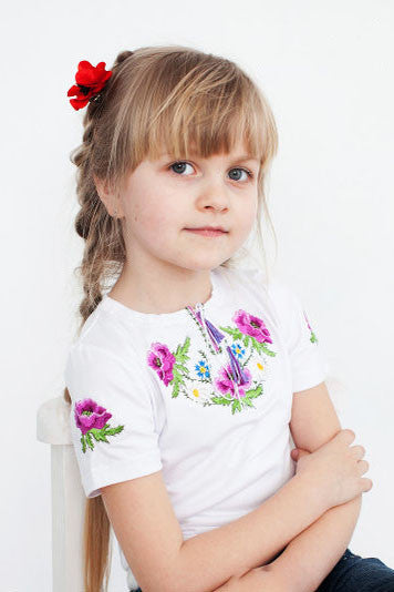 T-shirt for girl with purple embroidery