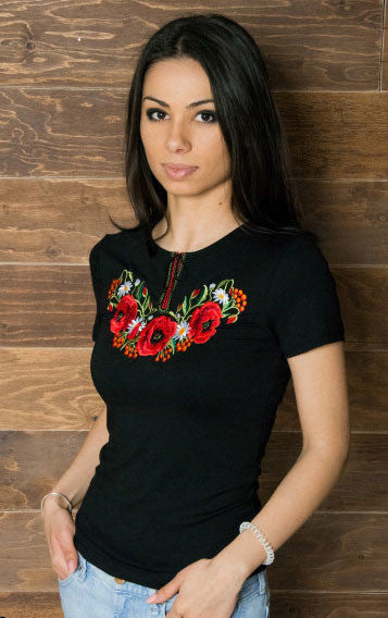 T-shirt for woman with flowers embroidery