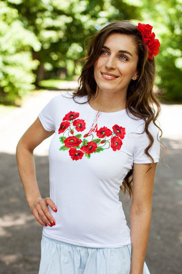 T-shirt for woman with poppy embroidery