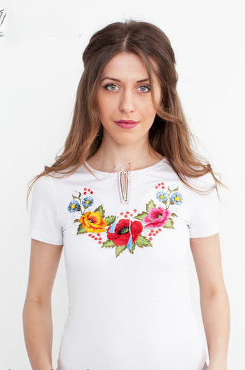 T-shirt for woman with mallow embroidery