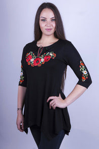 Tunic for woman with flowers embroidery