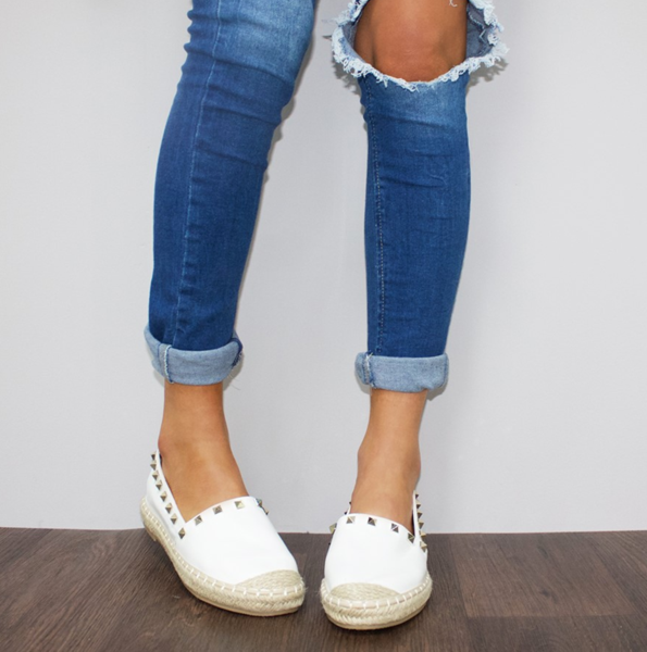 BE YOUNG STUDDED ESPADRILLES - WHITE