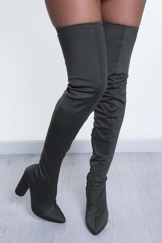 KNOCK OUT THIGH HIGH - KHAKI