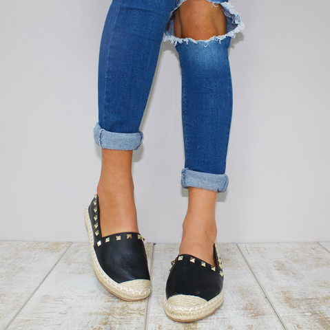 BE YOUNG STUDDED ESPADRILLES - BLACK