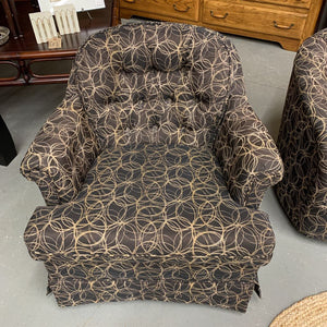 Living Room Chair - Charcoal Fabric w Circles