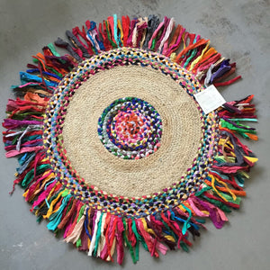 Braided Cotton-Jute Round Rug w Fringe