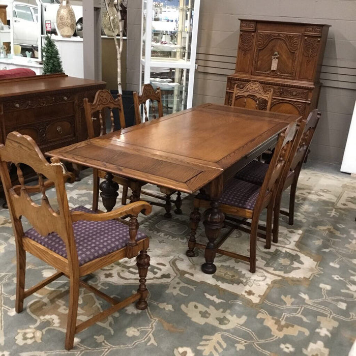 Antique Solid Oak Carved Table w 5 Chairs, One Captains and 2 Leaves At End
