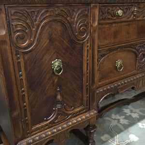 Antique Solid Oak Buffet w Carved Accents