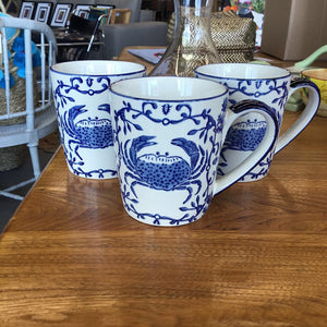Blue + White Crab Mug