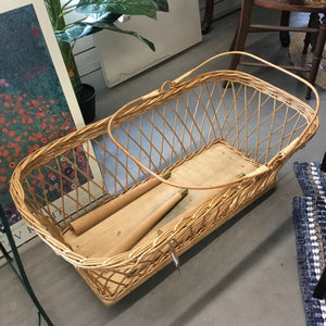 Antique Wicker Bassinet with Legs