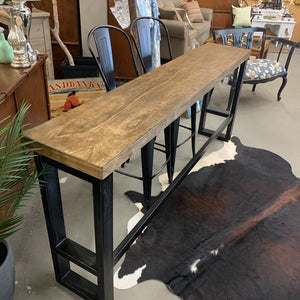Long Wood & Metal Sofa Table