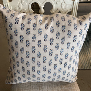 Lil Blue Flower on White Cushion