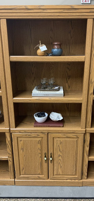 Oak Wood Veneer Bookshelf w Lower Cabinet