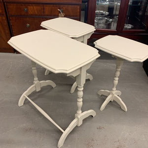 Cream Solid Wood Nesting Tables (3) w Spool Legs