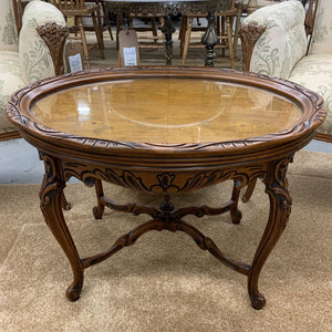 Antique Oval Carved Table w Remov. Glass Tray