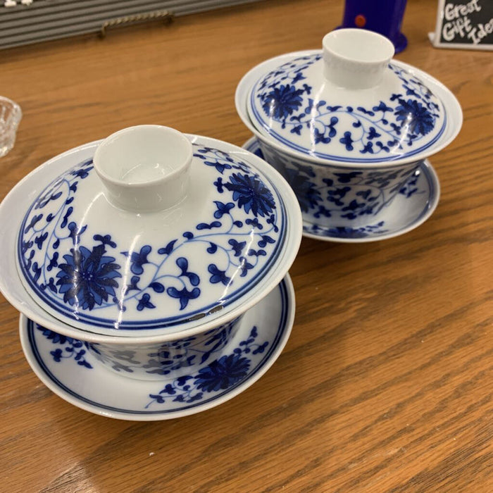 Asian China Cup w Lid, Blue & White #215B